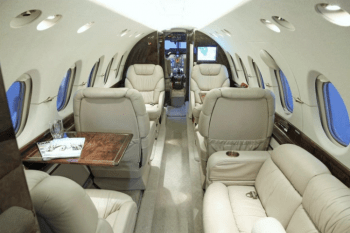 Cabin of the Hawker 800XP for charter, based in Dallas TX and operated by Business Jet Access
