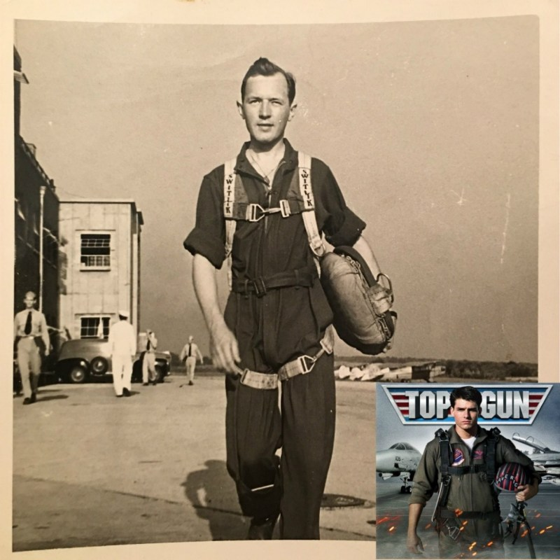 "Figure 2. While it is not certain whether this young man was in the Civilian Pilot Training Program or the War Training Service; an educated guess leads to the belief that it he was a WTS pilot due to the year being 1942 (when the WTS was officially formed), and the apparel worn by the men in the background. They are wearing military attire. We can also see some J-3 Cubs in the background. Source: Photograph of unidentified flight student at Purdue Airport, Box 1, Folder 1, John C. Franks papers on the Civilian Pilot Training Program, 1942-1946, Virginia Kelly Karnes Archives and Special Collections, Purdue University, West Lafayette, IN. Inset. An image from Top Gun, by Sarah Fannis, ""June 29, 2015 - Top Gun."" WLGZ. Accessed April 20, 2016. Retrieved from ""http://www.legends1027.com/June-29-2015-top-gun/14567509?pid=493960"