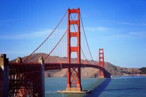 Golden Gate Bridge San Francisco with blue sky