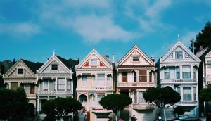 Terrace houses with bay windows in San Francisco