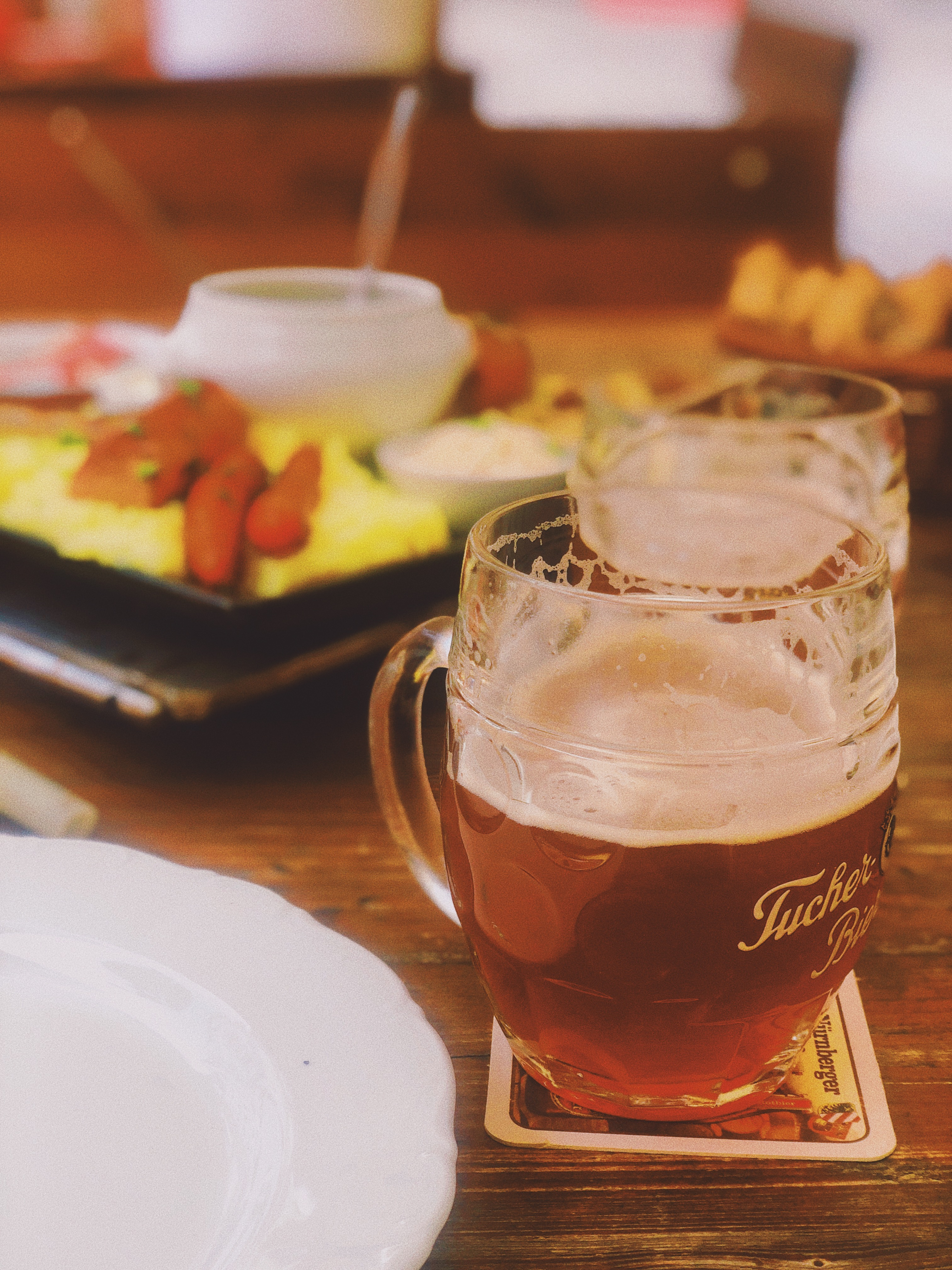 Meal and glass of beer at Bratwurst Roselein in Nuremberg, Germany
