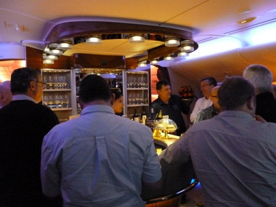 The bar on the Emirates A380
