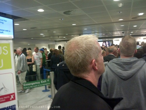 The long queue at airport security