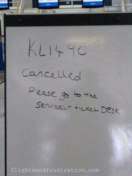 KLM flight was cancelled