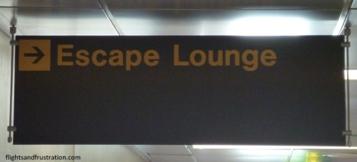 Sign to the Escape Lounge Manchester Airport