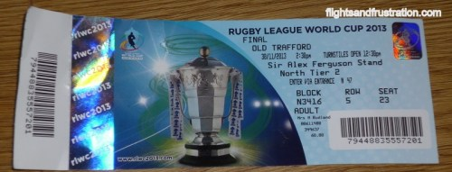 A ticket to the 2013 Rugby League World Cup Final