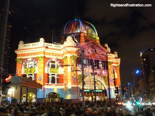 Flinders St Station on white light night