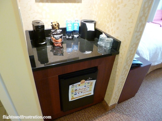 Fridge, free coffee and expensive water to purchase at Courtyard Marriott Pittsburgh