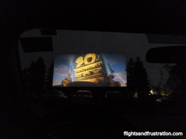 The cinema drive in film is starting