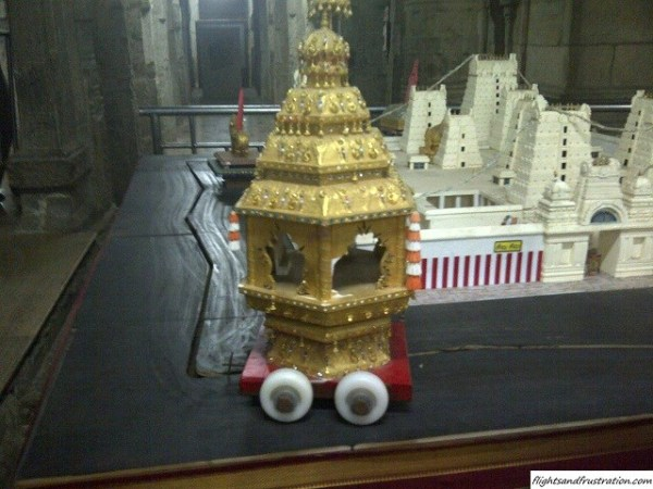 A replica of the golden chariot from the madurai meenakshi amman temple