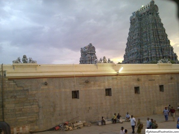 Admiring the fabulous towers from inside the Sri Meenakshi Sundareswarar Temple