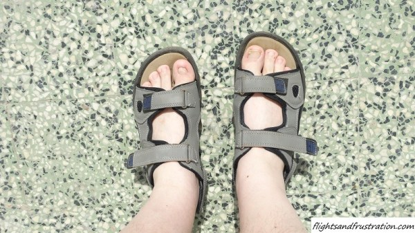 Wearing sandals bare foot
