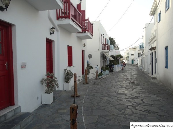 A beautiful street of Mykonos Town Greece