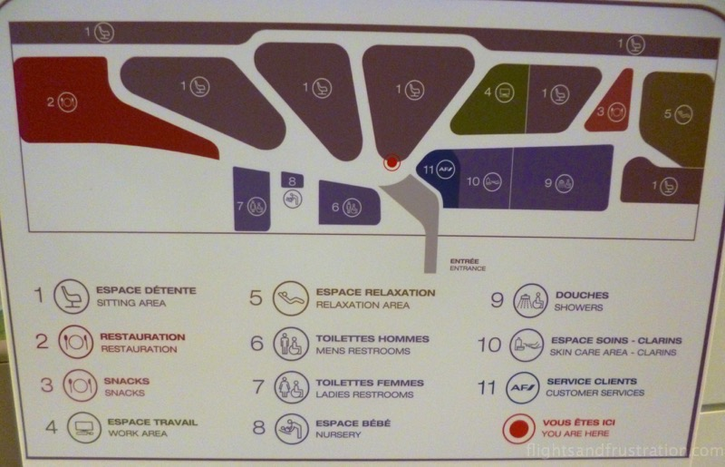 Map of for the lounge of Air France at the Charles De Gaulle terminal 2E Gates M