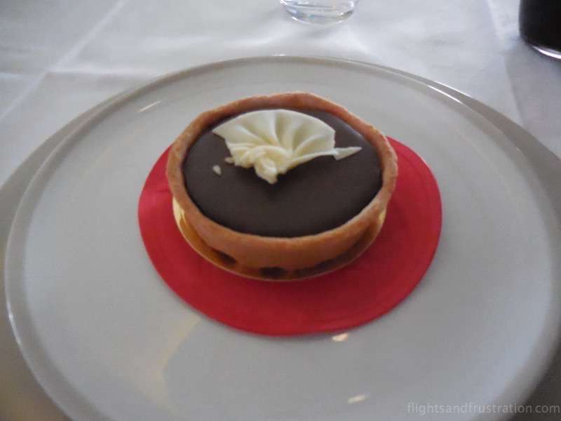 A chocolate and banana tart to finish part of my air france first class review