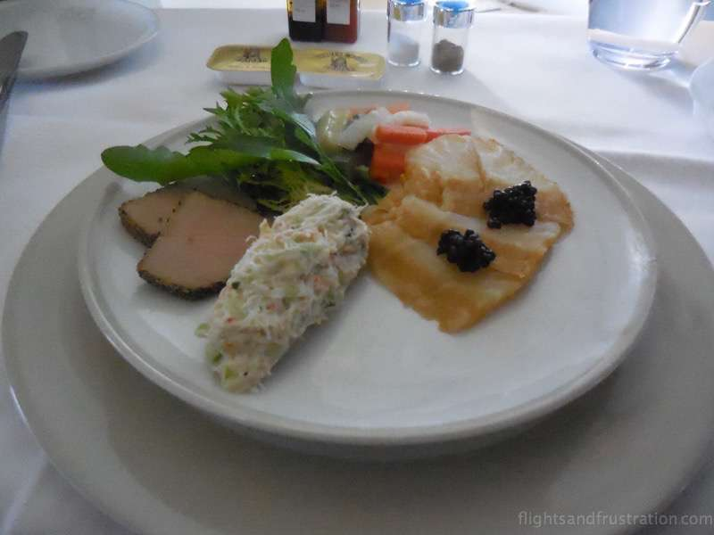 Caviar dish to start with air france first class review