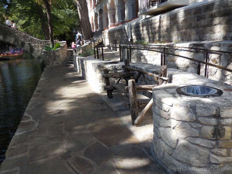 A bench to take a break during your San Antonio riverwalk