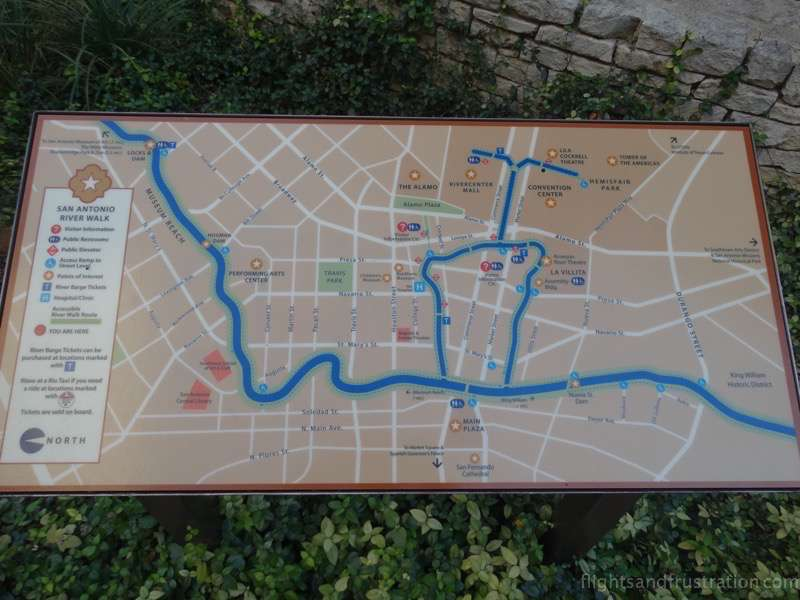 Map of the San Antonio riverwalk in Texas