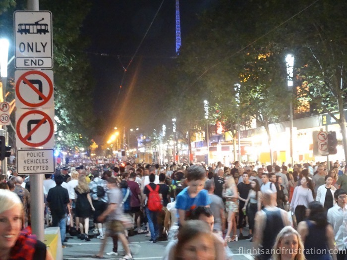 Hundreds if not thousands on Swanston Street attended White Lights Melbourne 2015