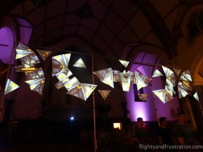 More lights on a fixed piece exhibit at the White Night Melbourne Festival