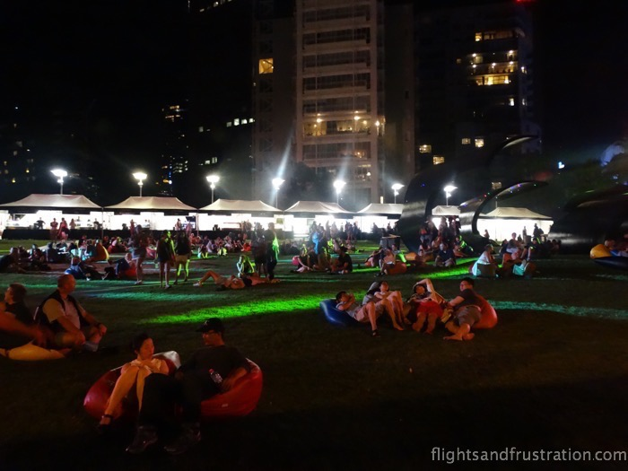 Taking time out at the Arts Centre on the Southbank during White Night Melbourne 2015