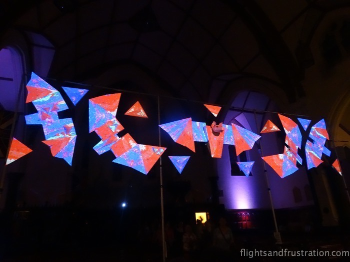 The lights are now red and blue on the fixed piece exhibit at the White Lights Melbourne Festival in 2015