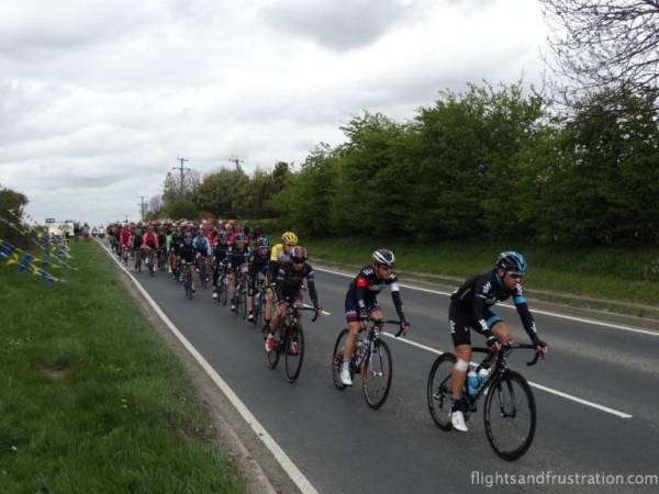 Here comes the cyclists of Le Tour De Yorkshire route 2015 in North Newbald