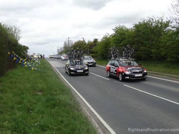 The team cars followed the cyclists along the tour de yorkshire route