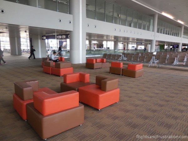 Trendy seats in the Shanghai Airport Departures terminal