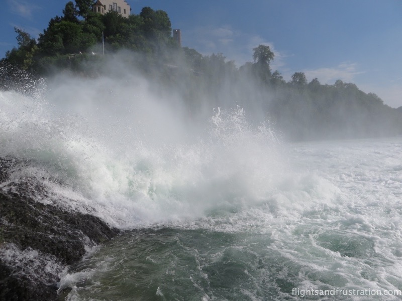 Spray from the biggest waterfall in Europe Rhein Fall