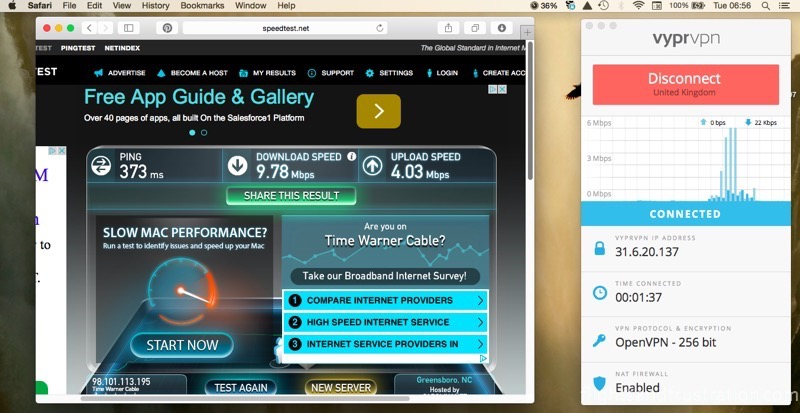 Golden Frog Vypr online vpn first speed test