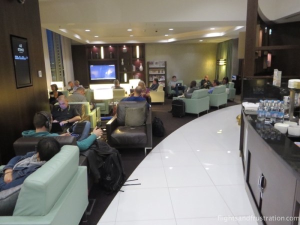 A small and busy Etihad VIP Lounge Manchester terminal 1