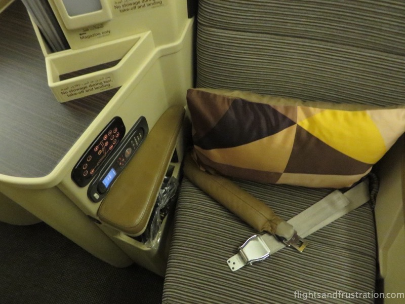 My Etihad Airways Business Class seat