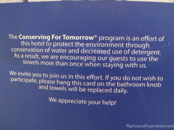 A hotel environmental policy request