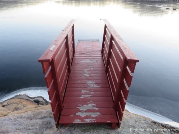 Wooden diving board into the lake at Mandal Norway