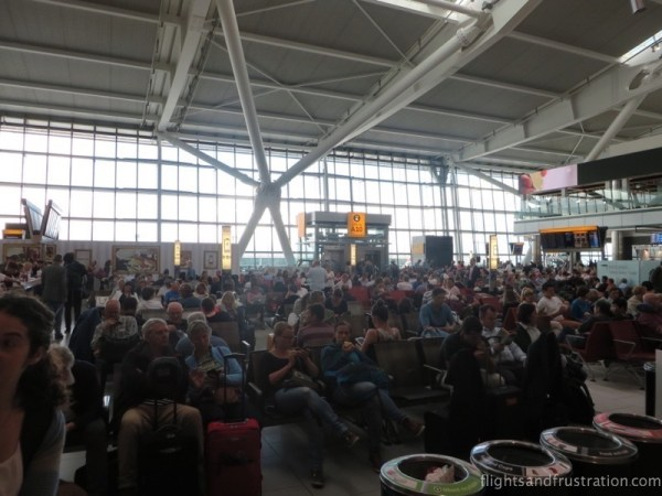 A very busy waiting area at T5