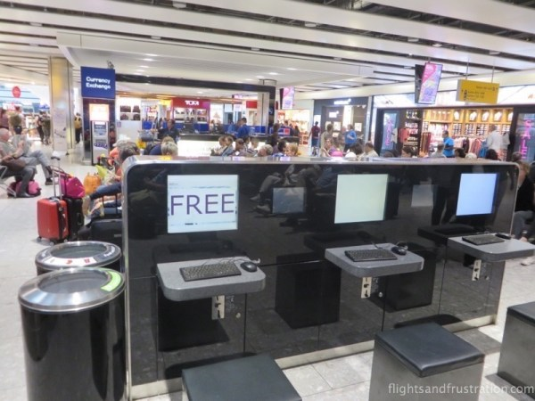 Computers with free internet access can be found on the lower level