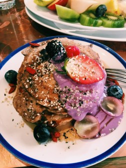 """""""Healthy Pancakes"""" for brunch at Flax & Kale"""