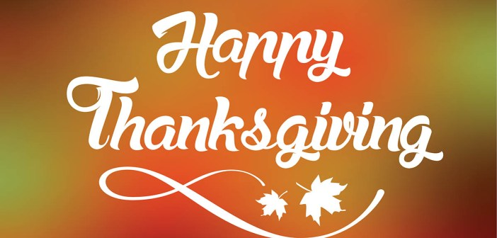 "Thanksgiving greeting card with ""Happy Thanksgiving"" lettering text vector illustration."