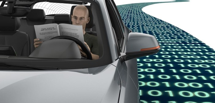 self driving electronic computer car on road 3d illustration