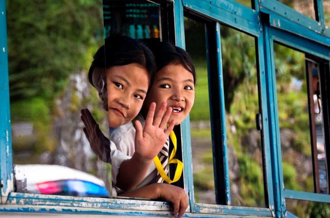 schoolchildren at border town of Kodari in Nepal