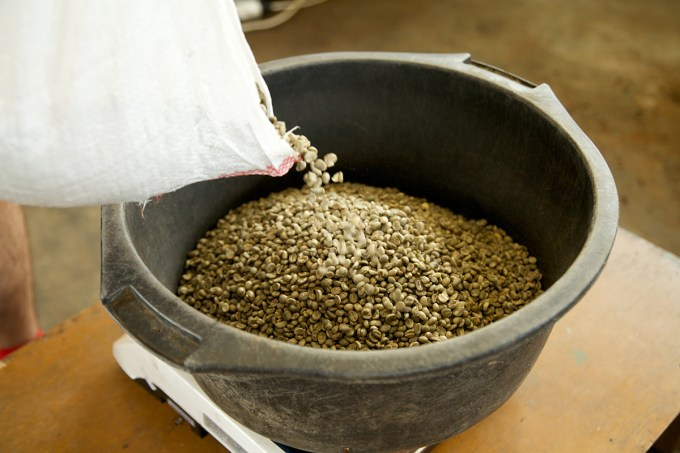 The batch is weighed carefully so final volumes can be tracked.