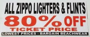 Bargain Beachwear Zippo Sign