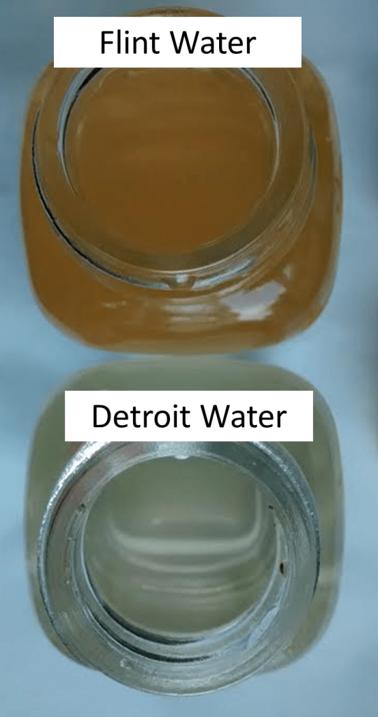 Figure 3: Higher release of iron is evident in the Flint water glass reactor containing iron than that of Detroit water