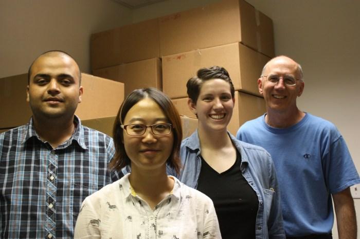 (L-R) Anurag Mantha, Dr. Fei Wang, Maggie Carolan, Dr. Jeffrey Parks
