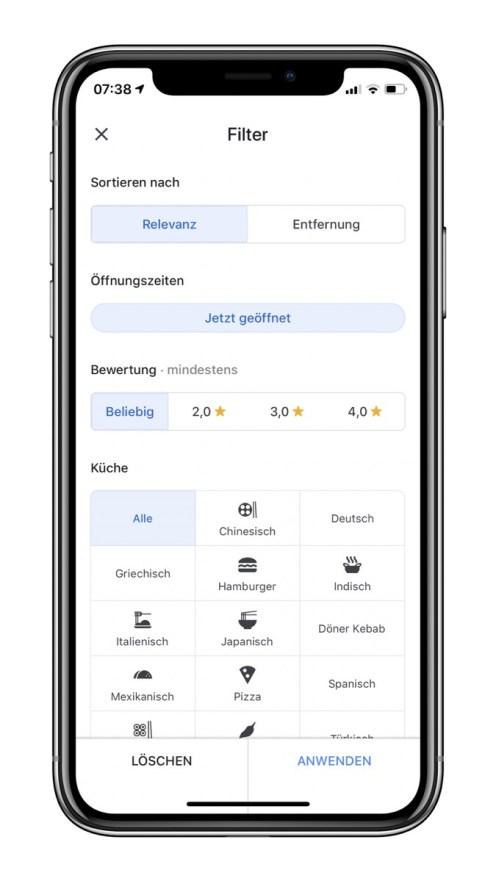 Maps Google Filter Ios