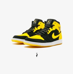 Nike Air Jordan 1 Mid Yellow Black
