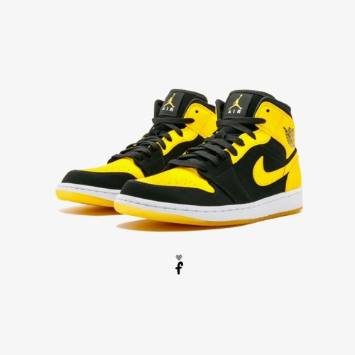 Nike Air Jordan 1 Mid Yellow Black
