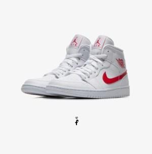 Nike Air Jordan 1 Mid White University Red