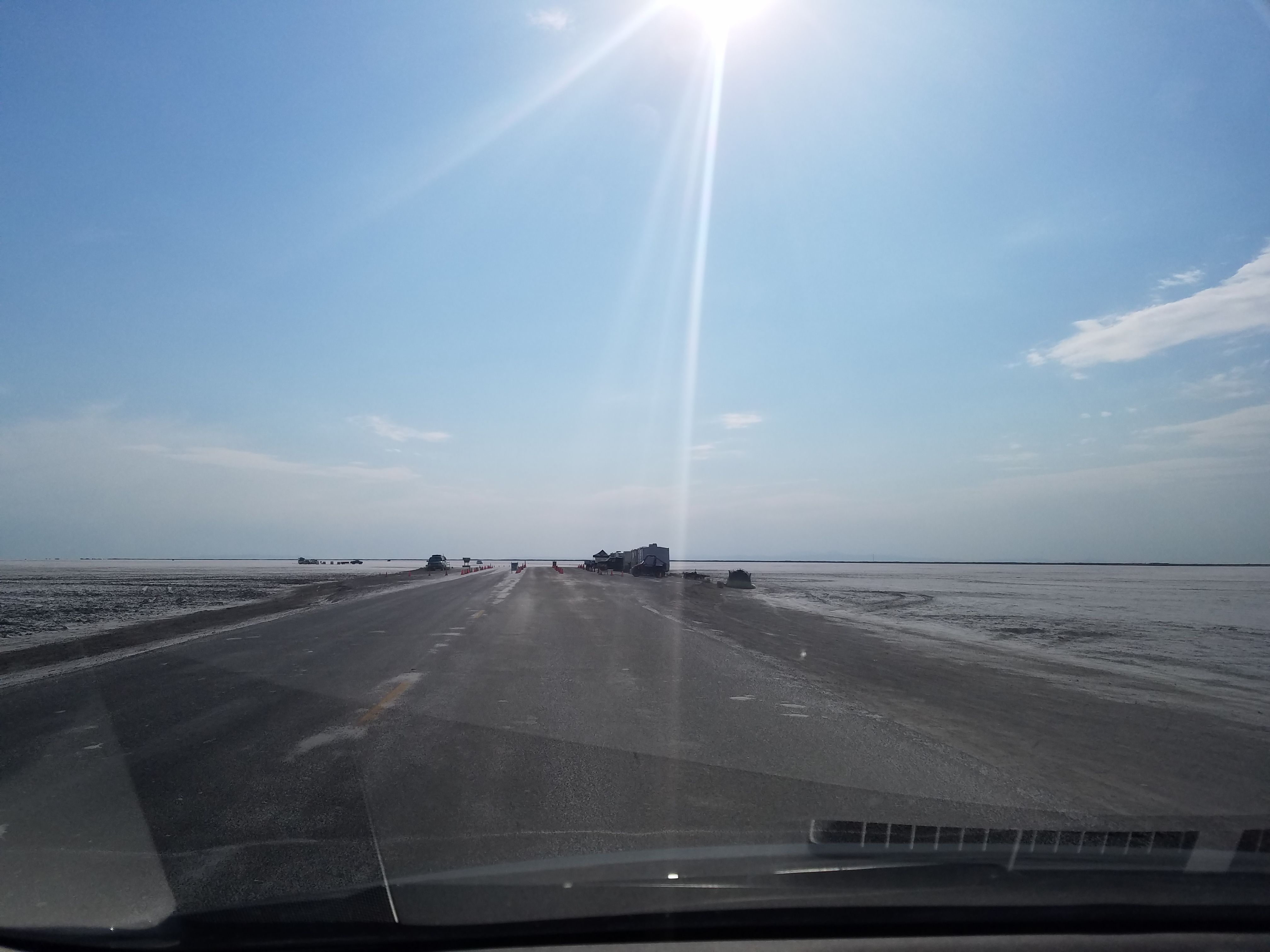 Driving up to the Pay Area of the Bonneville Salt Flats